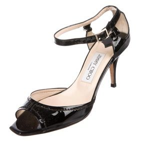 Jimmy Choo Patent Leather Ankle-Strap Sandals 6.5